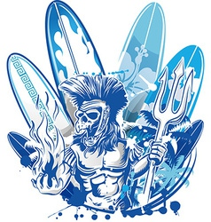 Poseidon death surfer on surfboard background vector