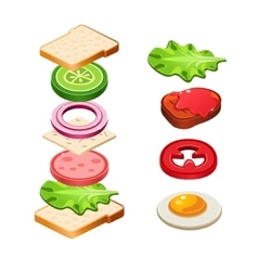 Sandwich ingredients food vector