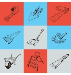 Set of nine with building tools vector