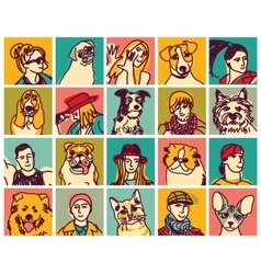 People and pets heads icons avatars set vector