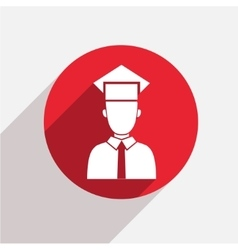 Modern student red circle icon vector