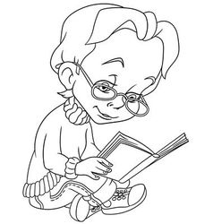 Boy with a book vector