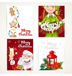 Santa claus and elf with gift on red and white vector