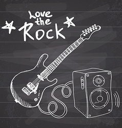 Rock music hand drawn sketch guitar with sound box vector