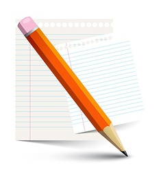 Orange pencil and empty paper notebook sheets vector