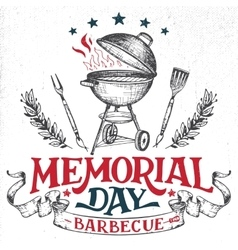 Memorial day greeting card barbecue invitation vector
