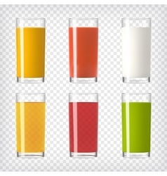 Juice and milk glasses set vector