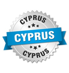Cyprus round silver badge with blue ribbon vector