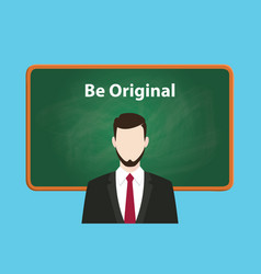 be original white text on green chalk vector image vector image