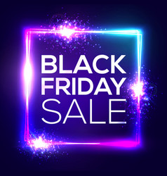 black friday sale background neon shopping sign vector image vector image