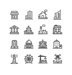 building house or home black thin line icon set vector image