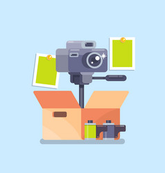 camera equipment flat isolated vector image vector image