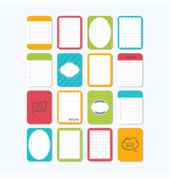 Collection of various note papers template for vector
