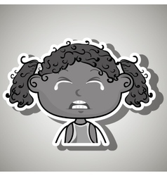 Crying cartoon little afro girl on white vector