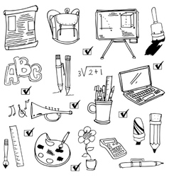 Cute hand draw school object doodles vector