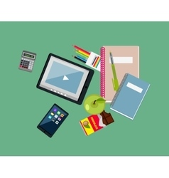 Education items tablet apple notebook and pen vector