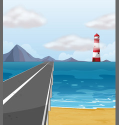 Empty road through the ocean vector