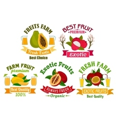 Exotic fruit and juice sign set for food design vector image