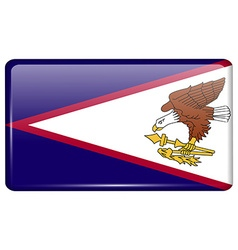 Flags american samoa in the form of a magnet on vector