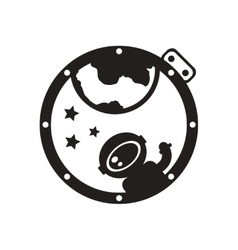 Flat icon in black and white cosmonaut vector