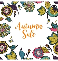Floral frame with text autumn sale vector