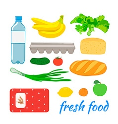 Food set with fruit and vegetables vector