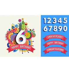 Happy birthday greeting card number set template vector image