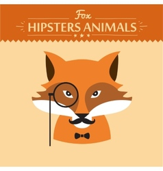 Hipster fashion animal with classic hipster vector image