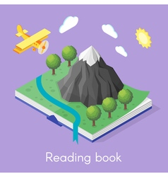 Isometric concept for reading book vector