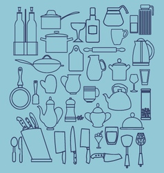 Linear flat design of collection kitchenware vector image vector image