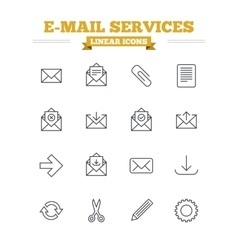 Mail services linear icons set thin outline signs vector