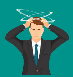 Man in suit and tie with strong headache vector