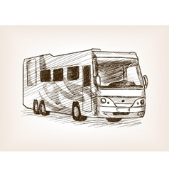 Mobile home bus transport sketch vector image