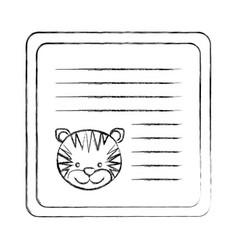 Monochrome blurred card with male tiger head vector