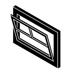 open window leaf icon simple black style vector image