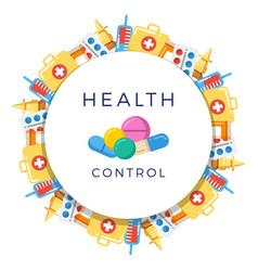 pills drugs pharmacy medicine round banner vector image