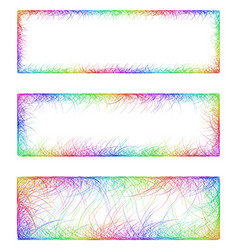 Rainbow line art banner frame design set vector
