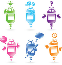 robot icons vector image vector image