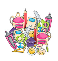 School elements clip art set in cartoon style vector