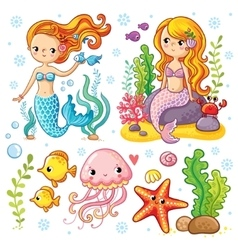 set on the marine theme vector image