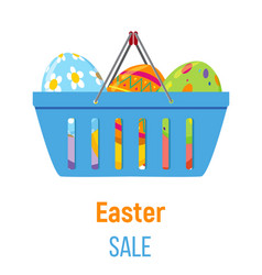Shopping basket with easter eggs vector