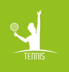 silhouette man with racket to play tennis vector image