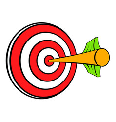 Target with arrow icon cartoon vector