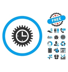 Time Options Flat Icon with Bonus vector image