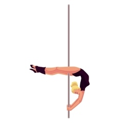 Young pole dance woman in black leotard doing vector image