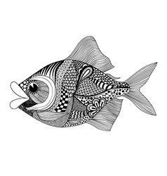 Zentangle stylized Fish Hand Drawn doodle isolated vector image