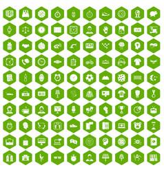 100 clock icons hexagon green vector