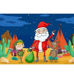 A boy a reindeer and santaclause vector