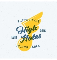 High notes abstract vintage emblem label vector