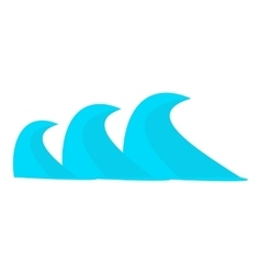 Three sea waves icon cartoon style vector
